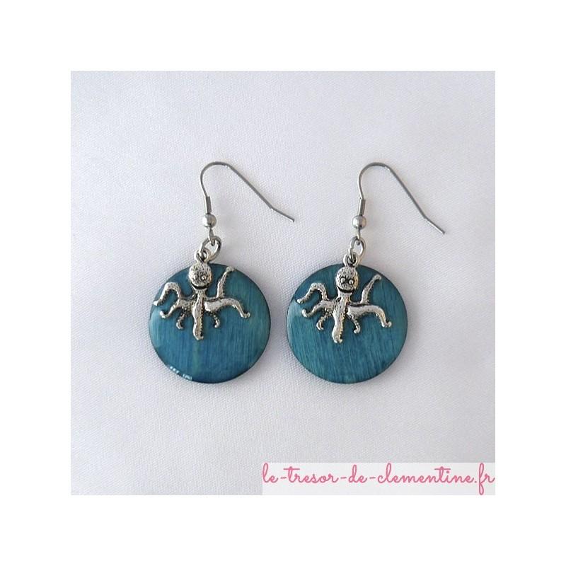 Etoile de mer turquoise metal - boucles d'oreilles
