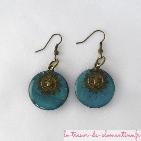 Soleil turquoise et bronze - boucles d'oreilles