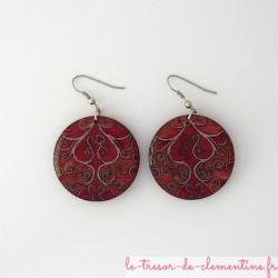 Boucles d'oreilles arabesques rouge, bijou fantaisie de style baroque
