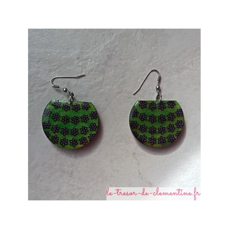 boucle d'oreille fantaisie Boucles d'oreilles panier de fleurs vert
