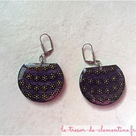 Boucle d'oreille fantaisie panier de fleurs violet