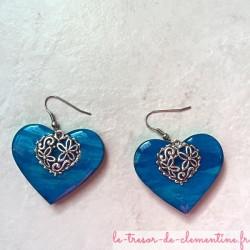 Boucles oreilles coeur bleu filigrane