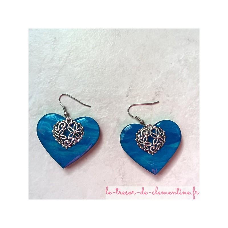 boucle d'oreille fantaisie bijou original bleu turquoise et coeur filigrane argent