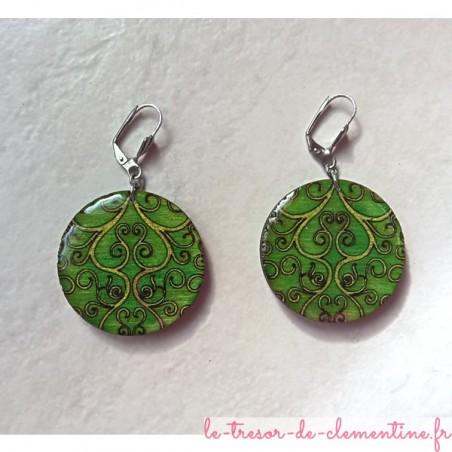 Boucle d'oreille fantaisie arabesques verte