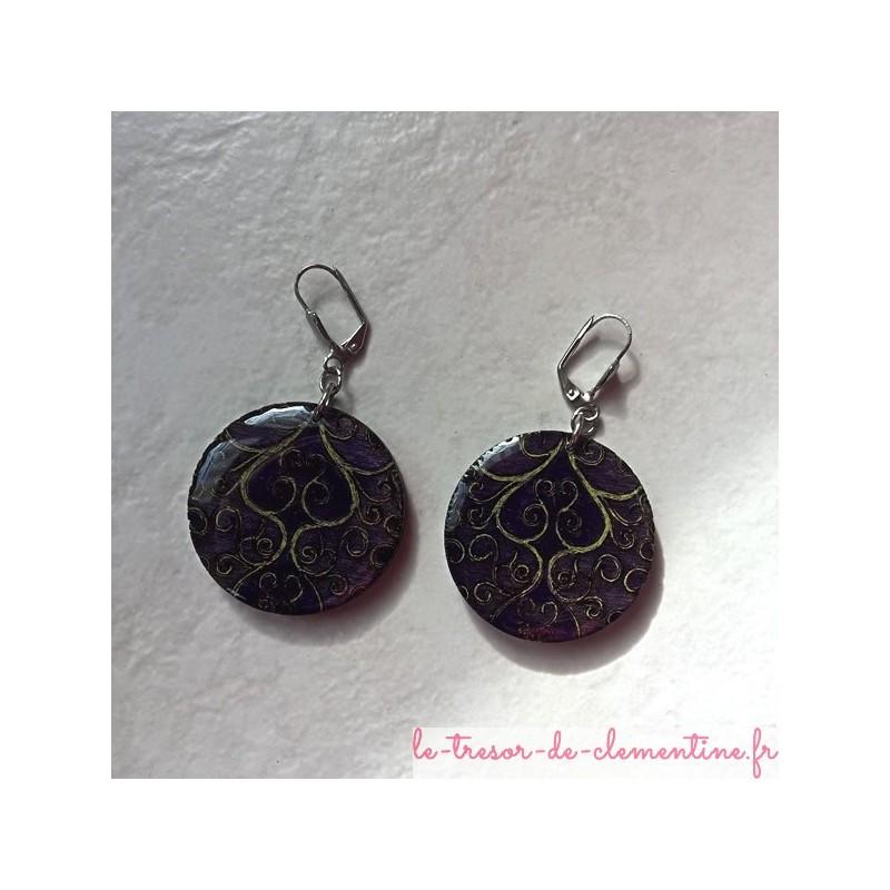 Boucle d'oreille fantaisie arabesques violet