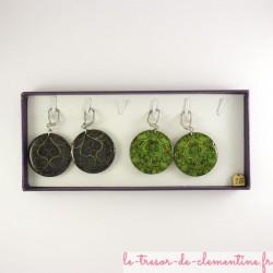 Boucle d'oreille fantaisie arabesques violet collection