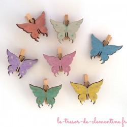 Marque place papillon en bois - lot de 7