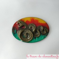 Broche originale décorée d'un serpent bronze fabrication artisanale
