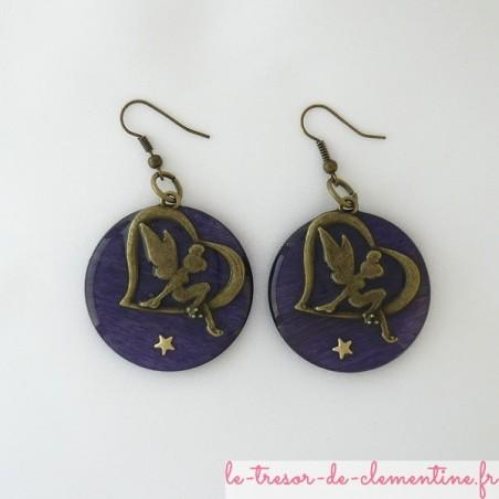 boucle d'oreille Fée violette