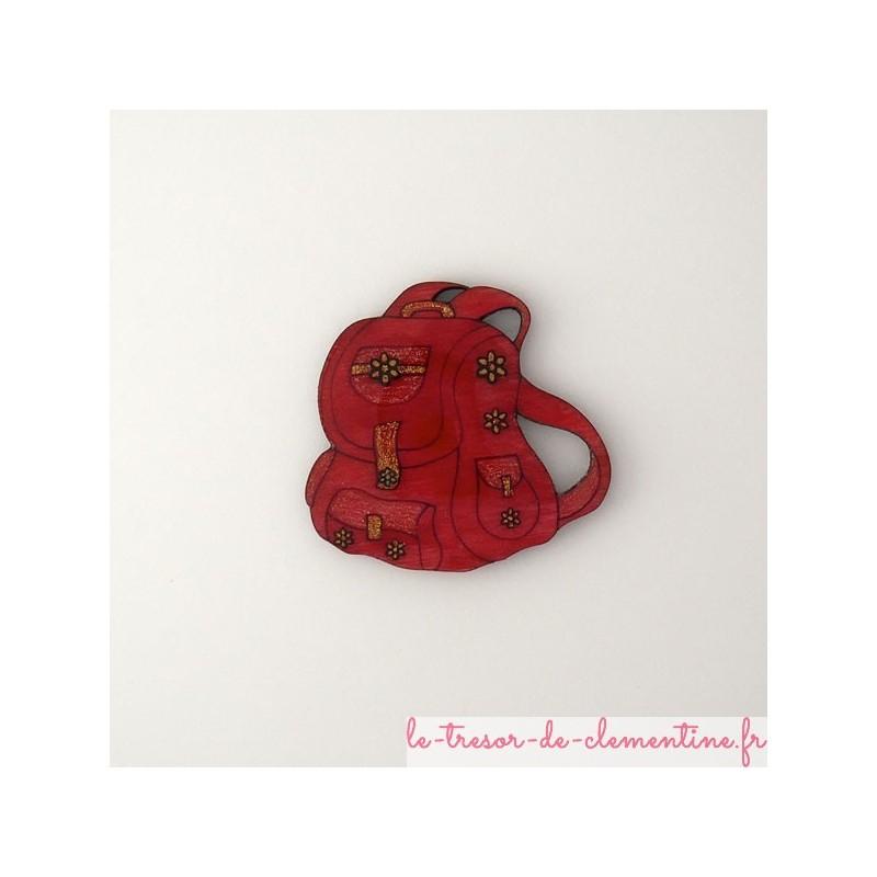 Broche originale, broche fantaisie en forme de sac à dos rose, broche pour enfant ou adulte, création artisanale