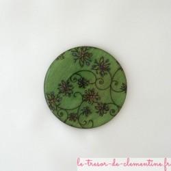 Broche fantaisie femme à volutes de fleurs vert bijou original