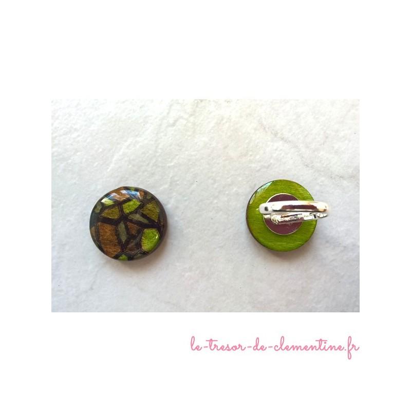 Bague fantaisie vitrail vert, bijou de créateur, sur support réglable plaqué argent