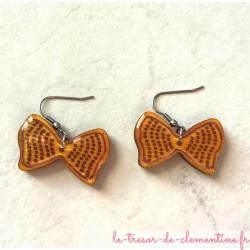 Boucle d'oreille fantaisie Noeud papillon jaune - Paire de boucle d'oreille fantaisie monture acier inoxydable