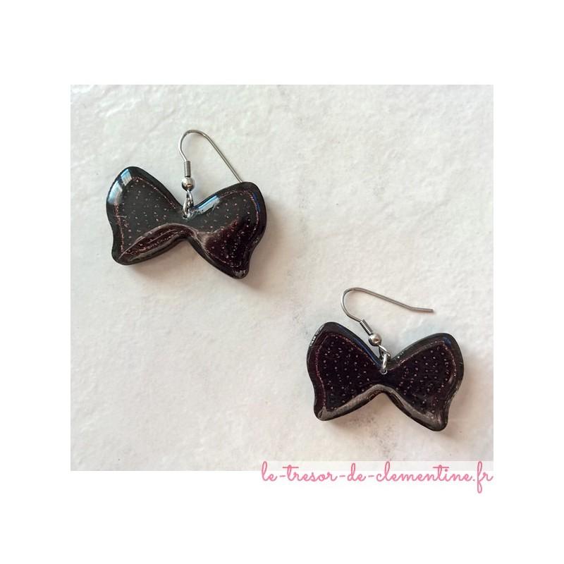 Paire de boucle d'oreille fantaisie monture acier inoxydable Bijou de créateur créé réalisé par Clémentine décor à la main
