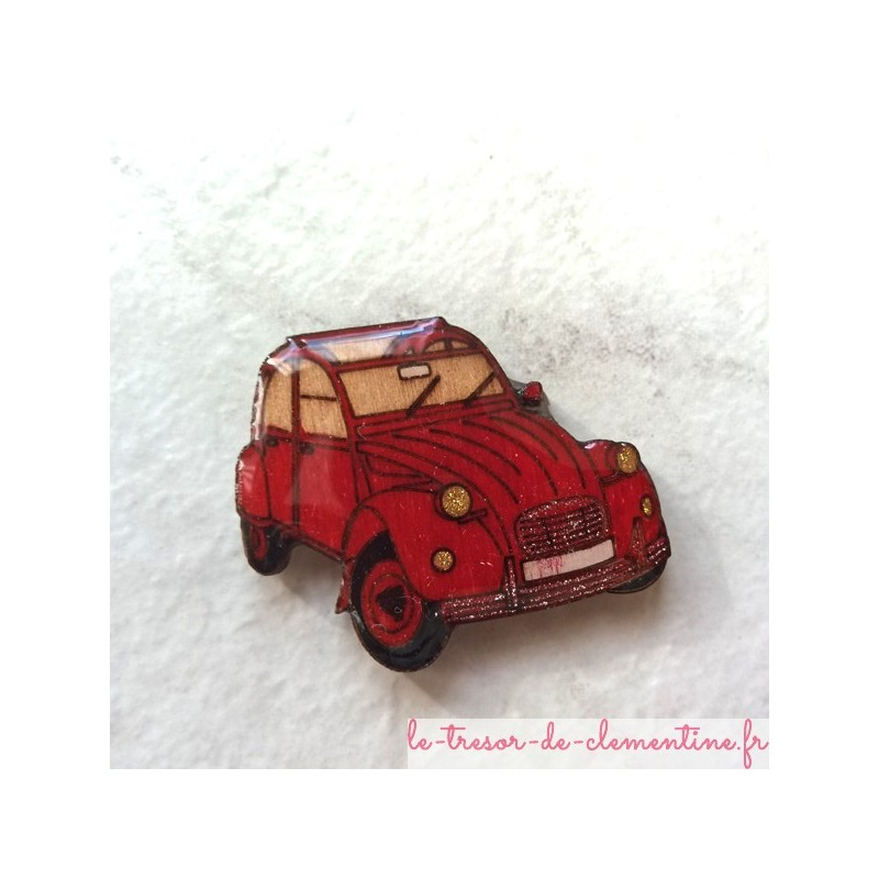 Broche originale 2 cv rouge (voiture mythique), bijou de créateur émaillé à froid couleurs profondes