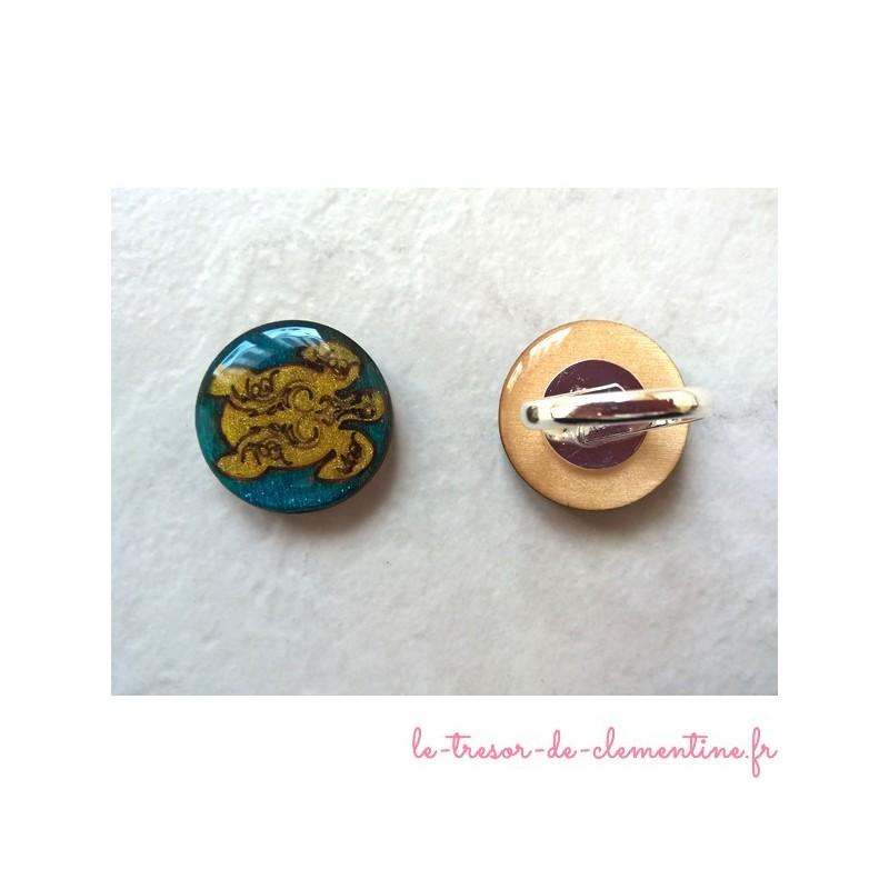 Bague originale, bague tortue dorée,  bijou de créateur créé par Clémentine, fabrication française