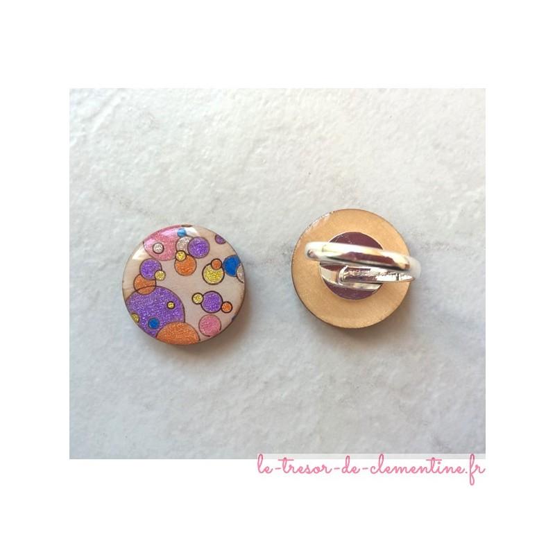Bague originale bulle multicolore, bijou de créateur, création artisanale française