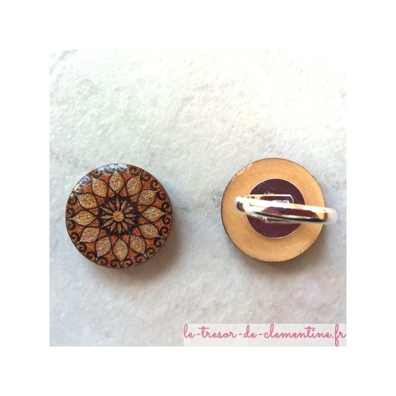 Bague originale rosace argent et bronze décorée à la main bijou original et artisanal