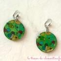 Boucle d'oreille fantaisie verte à bulles, création artisanale, bijou fantaisie