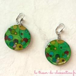 Boucle d'oreille fantaisie verte à bulles