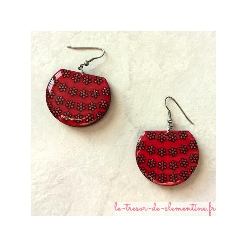 Boucle d'oreille artisanale panier de fleurs rose, bijou artisanal, thème nature