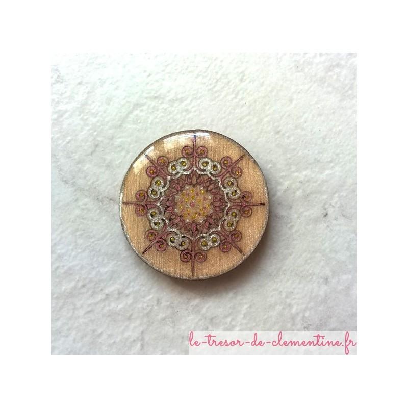 Broche romantique décor baroque, bijou de création original, broche originale décorée à la main
