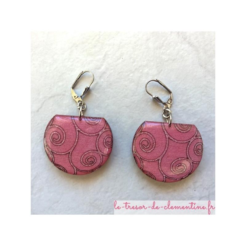 Boucle d'oreille fantaisie rose à spirale, boucle d'oreille baroque, bijoux création original