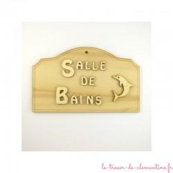 """Plaque décorative """"salle de bains"""" en bois dauphin et texte en relief"""