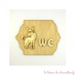 Plaque décorative wc avec Ane rigolo, création artisanale française, personnalisable sur demande