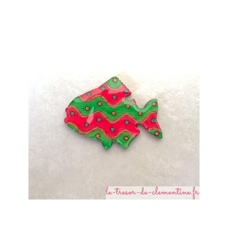 Broche poisson et bulles vert et rose broche originale personnalisable sur demande