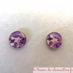 Puce d'oreille bulle violette oreilles non percées style baroque réalisable pour oreille percée