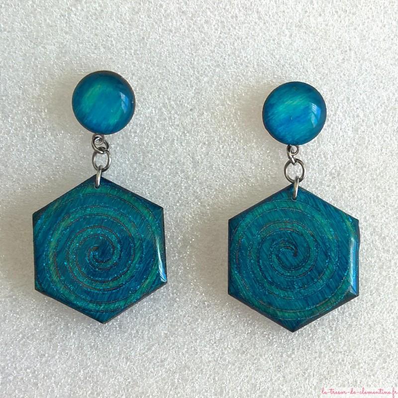 Boucle d'oreille fantaisie turquoise hexagone à spirale