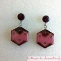 Boucle d'oreille rose et marron hexagone vague, bijou de créateur, modèle unique couleur profonde