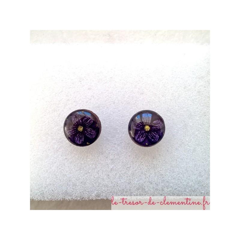 Puce d'oreille fleur noir violet oreilles non percées bijou de créateur