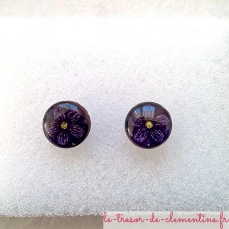 Puce d'oreille fleur noir violet oreilles non percées