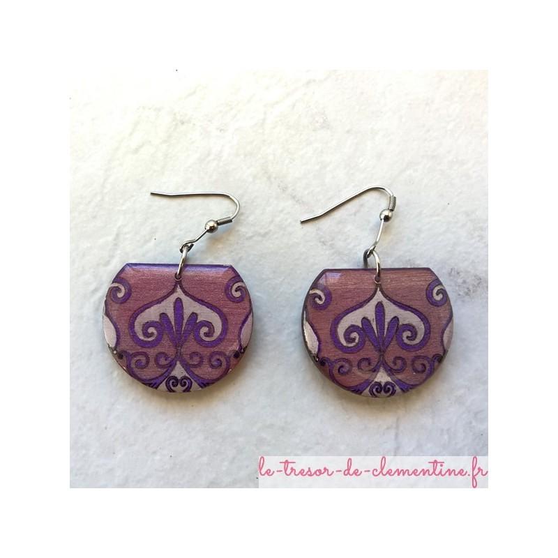 Boucle d'oreille médiévale baroque violet bjou de créateur original