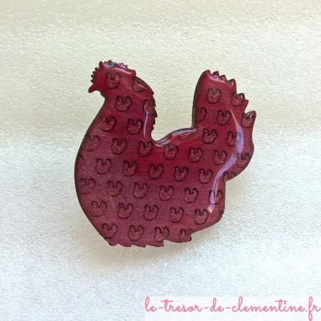 Broche poule rose