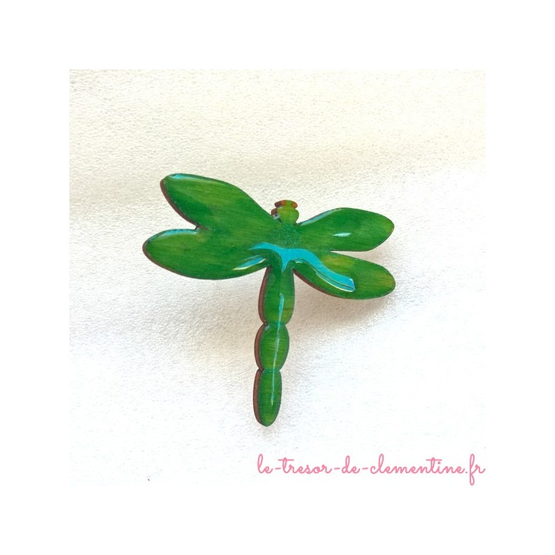Broche enfant ou adulte libellule verte, broche originale, bijou de créateur