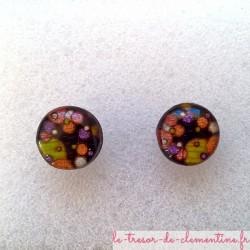 Puce d'oreille décor bulles multicolore sur fond noir boucle d'oreille bijou de créateur possible oreille non percée