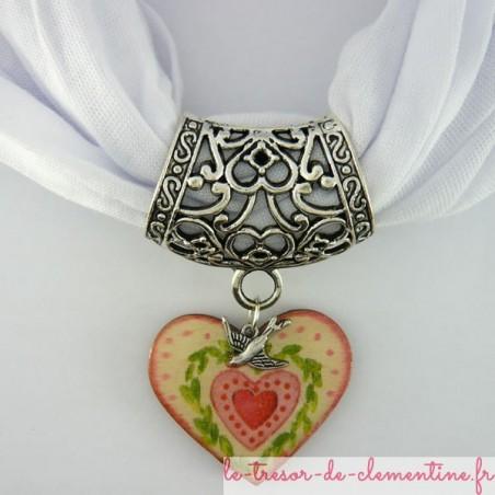 Bélière foulard coeur et hirondelle