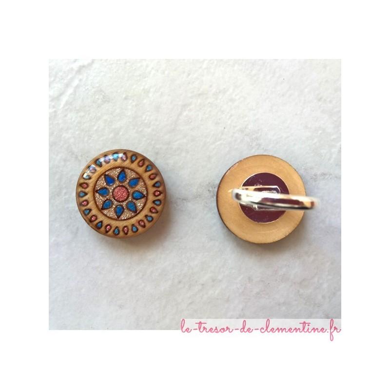 Bague originale Soleil bleu et rose, bijou de créateur, réglable, support de qualité en laiton plaqué argent et venir