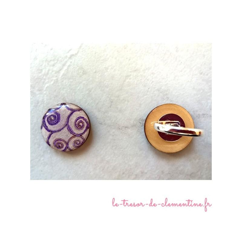 Bague fantaisie spirale violet blanc thème baroque, bijou de créateur, autres coloris disponibles et  sur demande