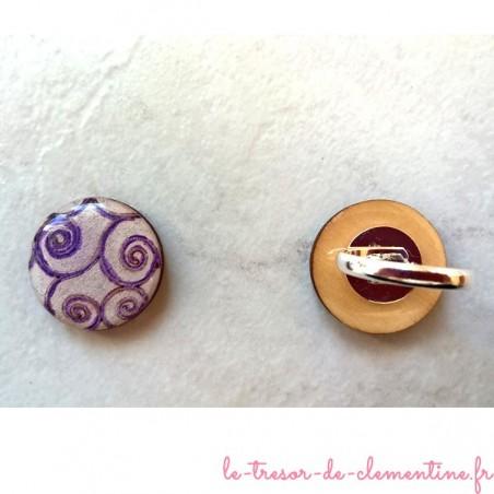 Bague fantaisie spirale violet et blanc