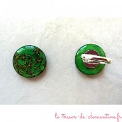 Bague originale fleurs fond  vert et pointes dorée bijou de créateur fabrication française