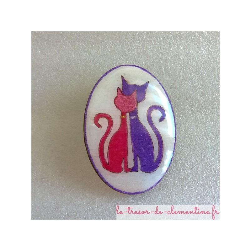 Broche originale coupe de chats amoureux, fabrication artisanale française