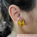 Puce d'oreille forme poule, boucle oreille réalisable pour oreille non percée plusieurs couleurs