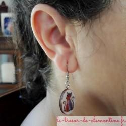 Boucle d'oreille chat amoureux, boucle d'oreille fantaisie pour enfant ou adule, réalisable pour oreille non percée