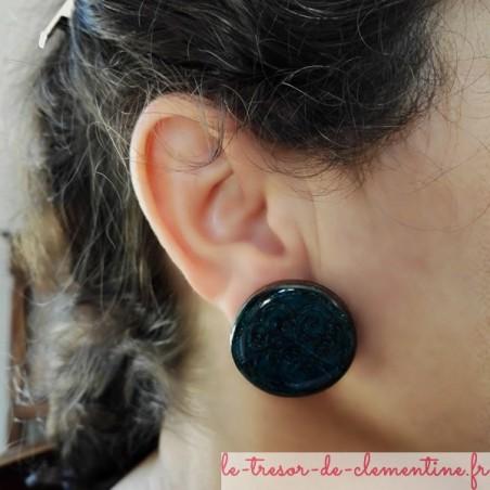 Boucle d'oreille arbre de vie turquoise