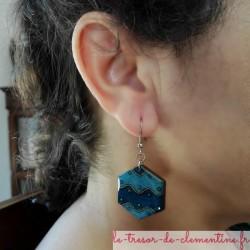 Boucle d'oreille bleu et argent hexagone vague