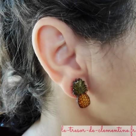 Boucle d'oreille ananas